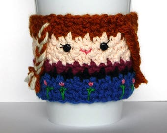 Crochet Frozen Anna Coffee Cup Cozy