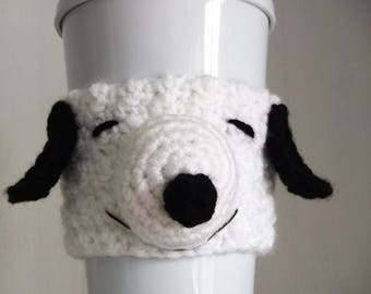 Crochet Snoopy Coffee Cup Cozy