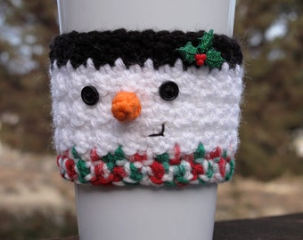 Crochet Snowman Coffee Cup Cozy