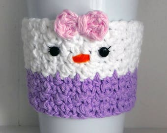Crochet Daisy Duck Coffee Cup Cozy