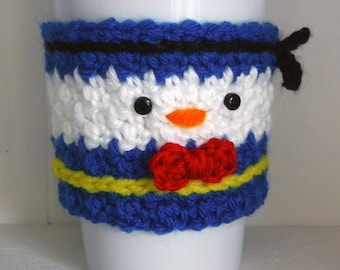 Crochet Donald Duck Coffee Cup Cozy