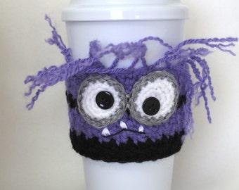 Crocheted Evil Purple Minion Coffee Cup Cozy Handmade