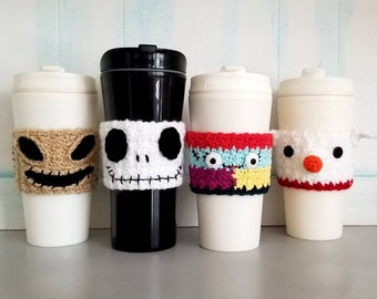 Set of 4 Halloween Nightmare Before Christmas Inspired Coffee Cup Cozies