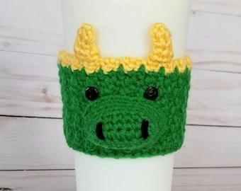Crocheted Alligator Loki Coffee Cup Cozy