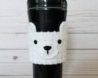 Crocheted Polar Bear Coffee Cup Cozy