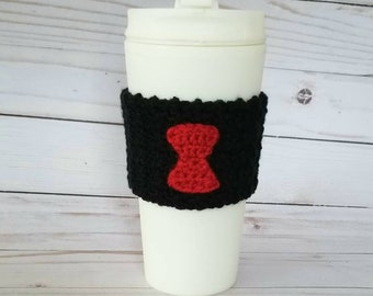 Crocheted Black Widow Coffee Cup Cozy