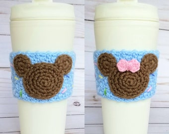 Crochet Mickey Minnie Mouse Ears Sprinkles Coffee Cup Cozy~Choose One