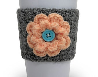 Crochet Flower Coffee Cup Cozy in Gray and Peach