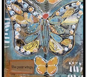 """Butterfly Canvas Painting, 5x7 Butterfly, Mixed Media Original Art, """" Use Your Wings"""", Inspiration Quote, Time's Up, Woman Inspirational"""