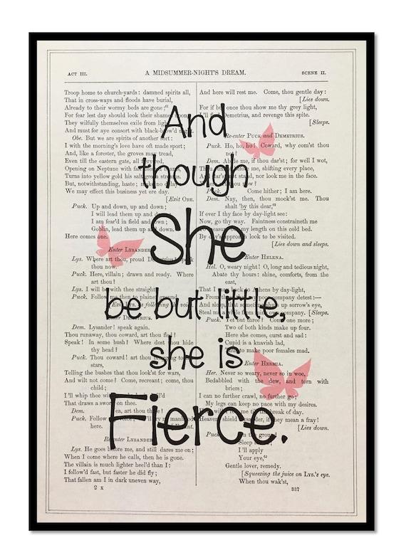 William Shakespeare Zitate Und Obwohl Sie Aber Wenig Shakespeare Zitieren Kunst Vintage Shakespeare Druck Shakespeare Buch Drucken 7 X 10 Größe