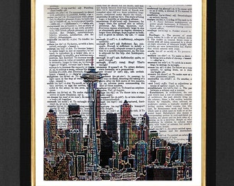 Seattle Skyline Neon -Seattle Skyline Prints - Mixed Media print on 8x10 Dictionary page, Dictionary art, Dictionary print- Seattle Prints