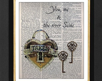 """Paris Lock & Key"""" Forever Together """" River Seine Lock and Key Prints, size 8x10 Vintage Dictionary page, Dictionary art, Dictionary print"""