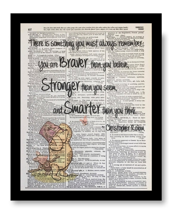 Winnie the Pooh Dictionary Art Print Picture Poster Classic Jacks Vintage Book