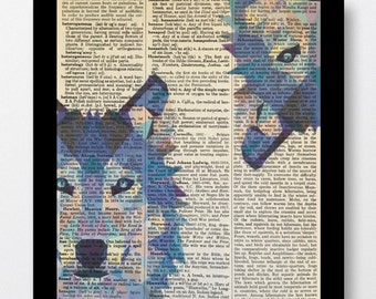 Wolf Prints, Wolf Polygon Prints, Wolf Art Prints  Mixed Media 8x10 Vintage Dictionary Page,Wolf Print, Wolf Drawing, Wolf Pictures