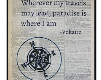 Voltaire Quote- Pardise Is Where I Am,Quote Art Prints, Mixed Media hand painted art print on 8x10 Vintage Dictionary page, Dictionary print