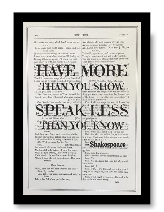 Speak what we feel Dictionary Print Quote Art Shakespeare King lear