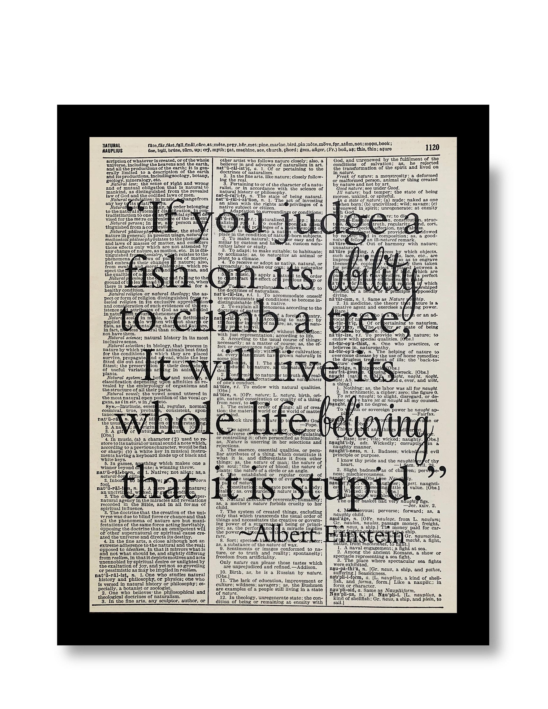 Albert Einstein Quote If You Judge A Fish Einstein Quotes Etsy