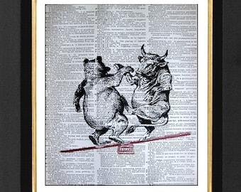 "Bull & Bear Market  ""The Dance""- Wall Street Humor, Mixed Media art print on 8x10 Vintage Dictionary page, Dictionary art, Dictionary print"