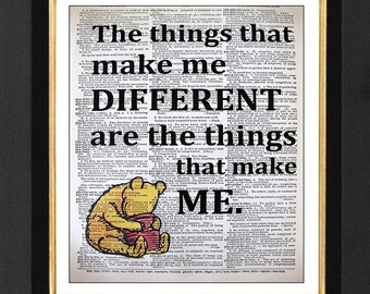 Different -Winnie The Pooh -Winnie the Pooh Print, Mixed Media art print on 8x10 Vintage Dictionary page, Dictionary art, Dictionary print