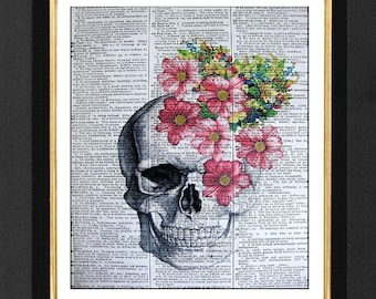 """Skull With Flowers """"The Tempest""""Mixed Media art print on 8x10 Vintage Dictionary page, Dictionary art, Dictionary print, Skeleton Prints"""