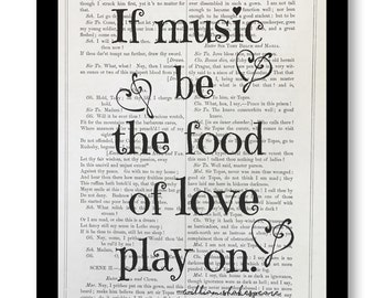 "William Shakespeare Quote Print, ""If music be the food of love, play on, Twelfth Night, What You Will 7x10 Vintage Shakespeare Book Page"