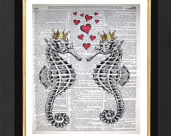 "Seahorse ""Forever Love""- Mixed Media,Vintage Dictionary page, Dictionary art, Book Print, Seahorse Marine Life, Couples Art, Seahorse Art"