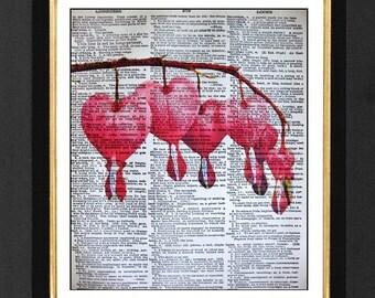 Pink Bleeding Heart Flowers-ORIGINAL ARTWORK Mixed Media art print on 8x10 Vintage Dictionary page, Dictionary art, Dictionary print