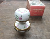 Antique Ceramic Porcelain Door Knob and Backplate - White with Pink Roses and 22K Gold - Mint in Original Box