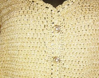 7955e2d8109b88 Vintage 1960 s Gold Metallic Thread Cardigan