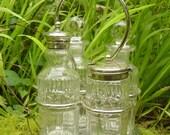 Antique English Georgian Hand Cut Crystal Glass 4 Bottle Cruet Set with Silver Stand