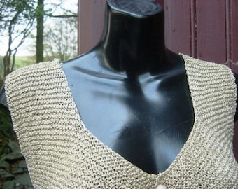 Gold 70's 80's Metallic Thread Hand Knitted Cardigan Free Size