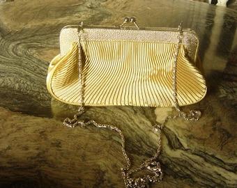 Vintage 1980's Gold Pleated Clutch Bag Purse Handbag Mandarini