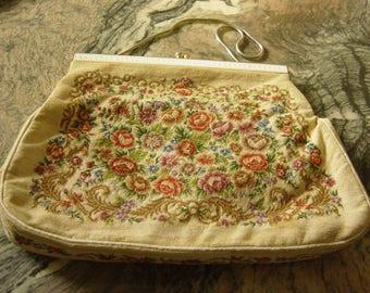 Vintage 1950's or 1960's Tapestry Clutch Bag Purse Handbag
