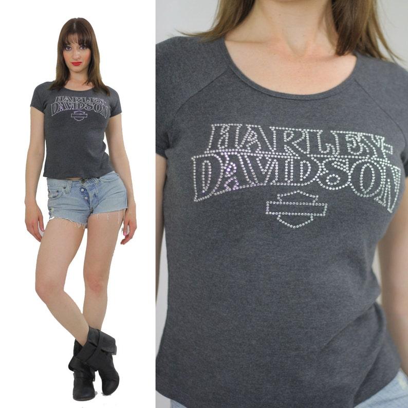 Harley Davidson T Shirt Womens Studded Harley Davidson Tshirt Etsy