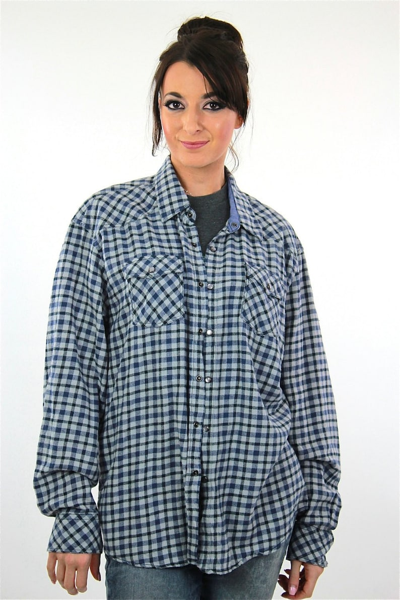Vintage 90s grunge blue flannel shirt lumberjack checkered unisex oversized XL