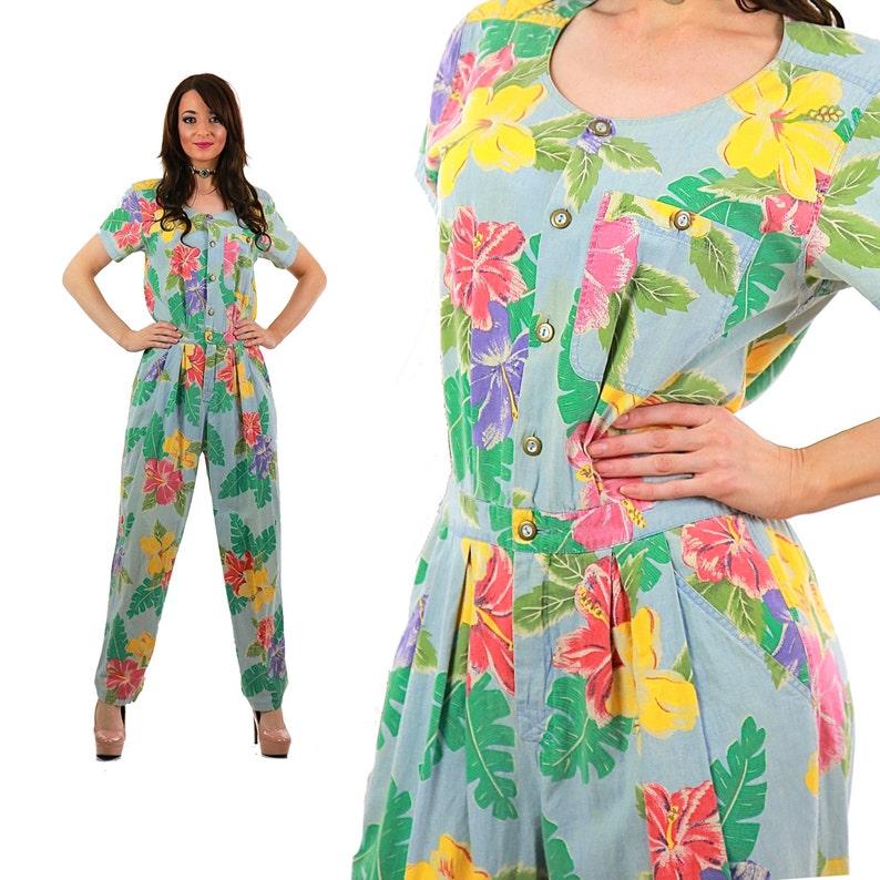 7ff2f727a19 Tropical floral jumpsuit romper pastel boho jumpsuit graphic