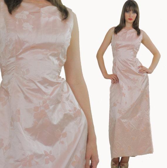 Pastel Pink Silk Floral Maxi Party Dress Medium
