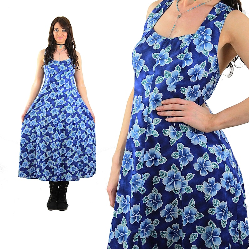 6e5da186eac Vintage 90s grunge dress blue floral dress halter open back