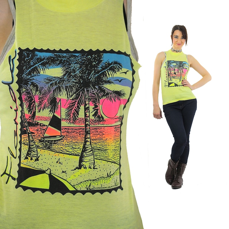 e30be9d3e2331f Florida shirt 90s Graphic yellow Tank top sleeveless sailboat