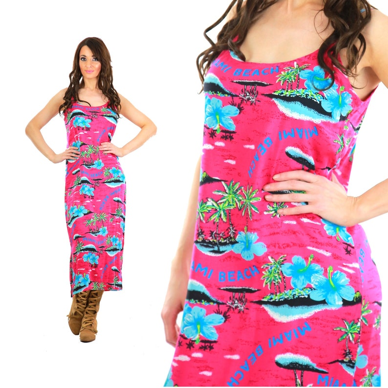 71baf30b117 Tropical Maxi Dress Vintage 90s grunge fuchsia floral Miami