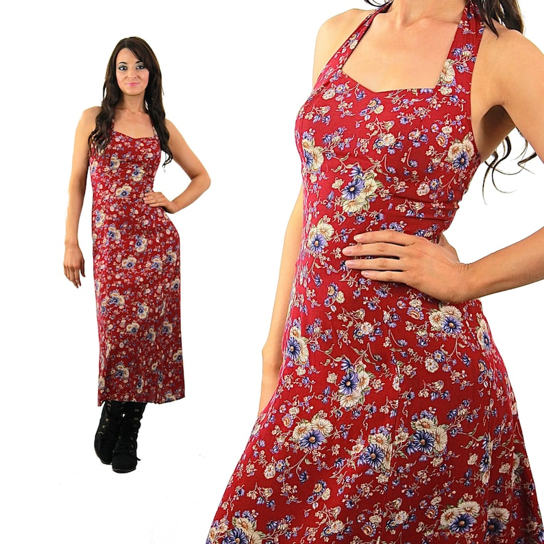 7fd2ab891cf Red Floral Dress Vintage 90s Grunge dress Halter sundress