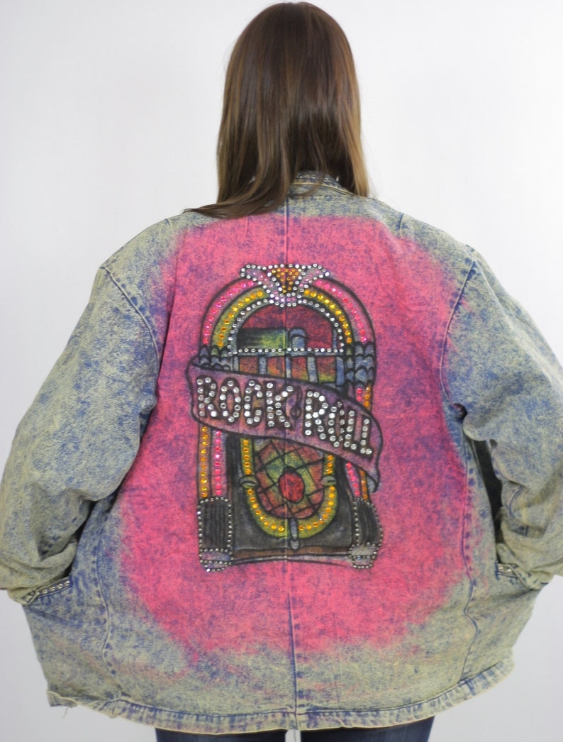 4f004e721c6b Acid wash denim jacket tie dye Painted Jukebox Studded Rock N