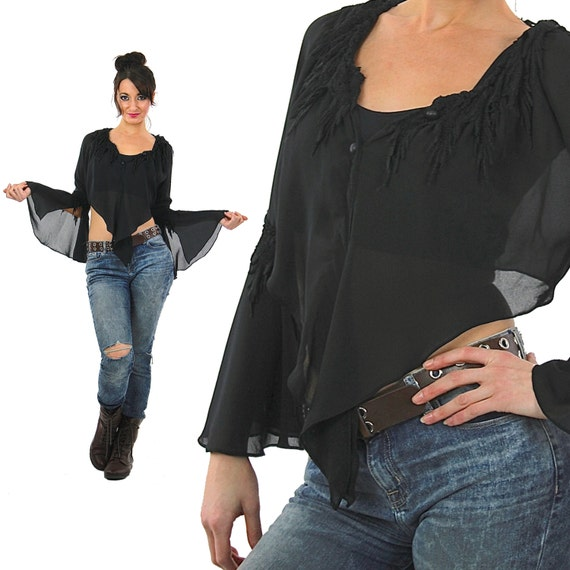 7fd693692bdc1b Sheer lace top Vintage 1990s grunge goth cropped blouse angel