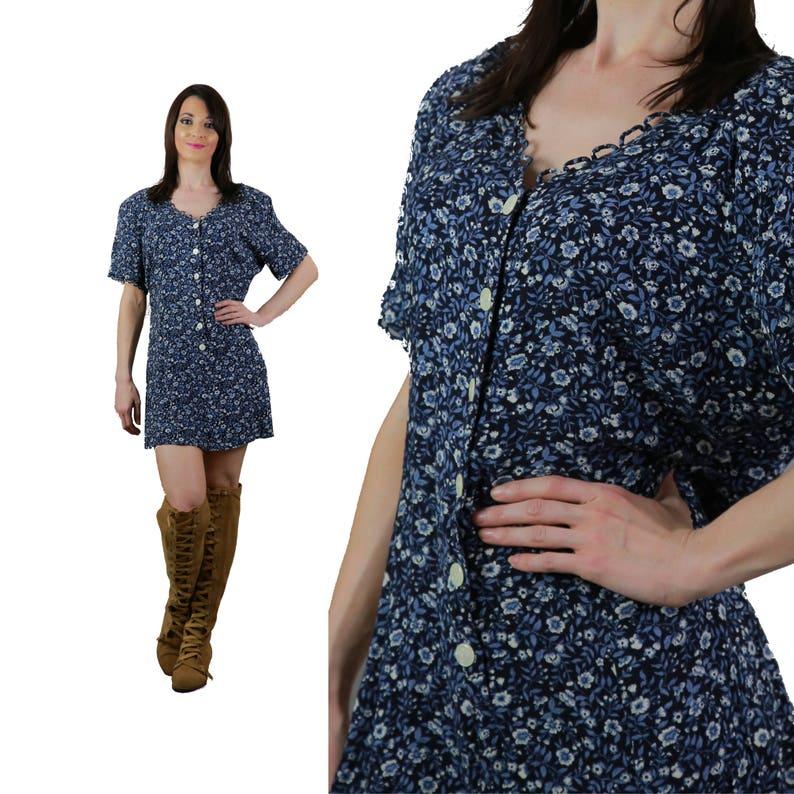 57373113a47 Blue floral Mini Dress Vintage 90s grunge button-down sundress