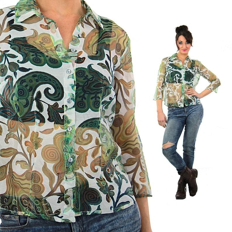 ae624b5699d91b Sheer floral top Vintage 90s Paisley shirt see through