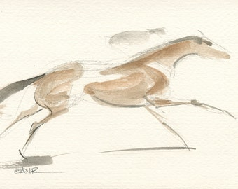 """Race Horse Art, Derby Galloping Racehorse, Original Watercolor Painting by Anna Noelle Rockwell-""""Exhilarate"""""""