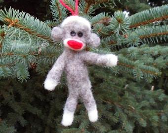 Sock Monkey Christmas Ornament Needle Felted Wool