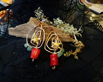 Earrings with sass!! Rattlesnake vertebrae with Coral and Green Aventurine