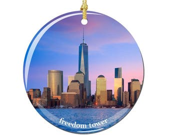 Freedom Tower Christmas Ornament, Porcelain 2.75 Inch NYC Freedom Tower Christmas Ornaments