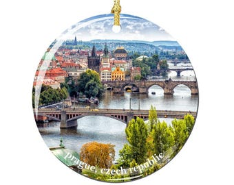 Czech Republic Prague Christmas Ornament, Porcelain 2.75 Inch Prague Christmas Ornaments